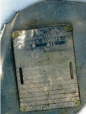 North American F-86 Manufactures plate